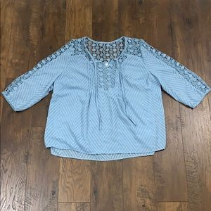 Bila sky blue lace sheer blouse
